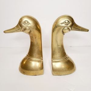 Vintage Pair of Brass Duck Bookends